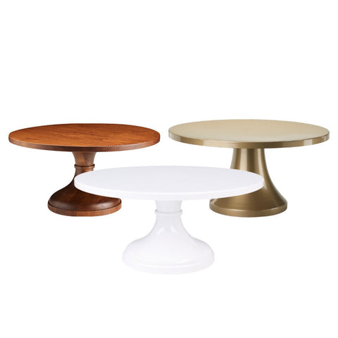 Set of 3 Cake Stands - White, Gold & Wood