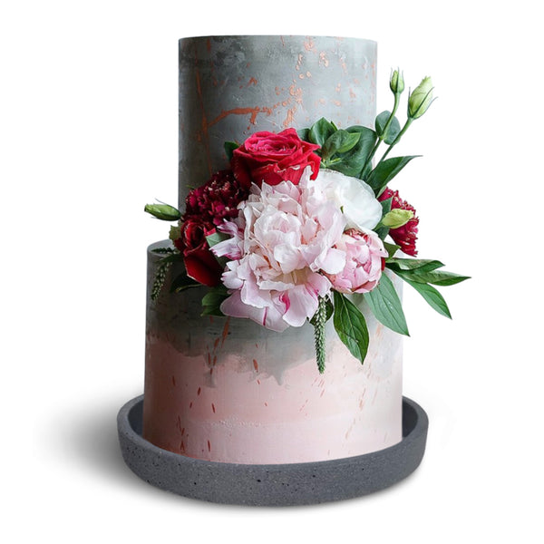 Natural Gray Concrete Wedding Cake Plate Lifestyle