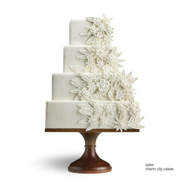 Square Natural Wood Wedding Cake Stand