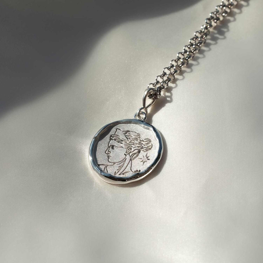 Artemis Sterling Silver and Diamond Medallion Necklace - COMMON ERA