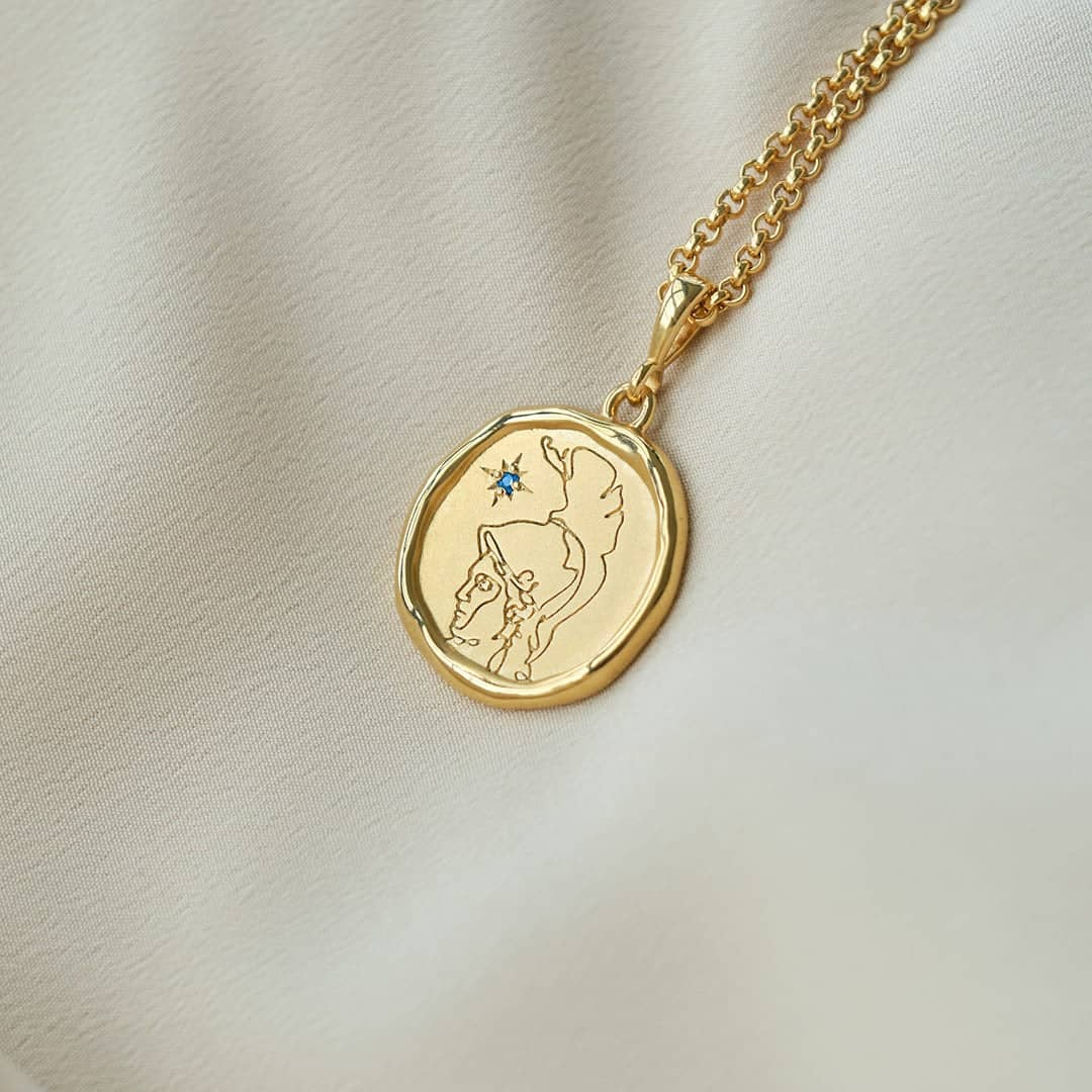 Athena Gold and Sapphire Medallion Necklace - COMMON ERA