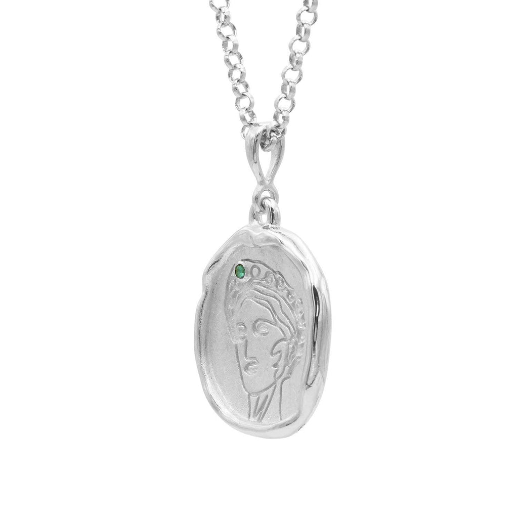 Gaia Sterling Silver and Emerald Medallion Necklace - COMMON ERA