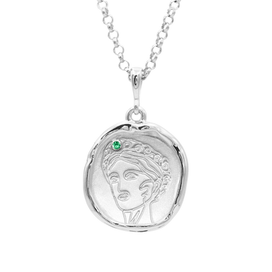 Gaia Goddess of the Earth Necklace with Emerald | Silver - COMMON ERA