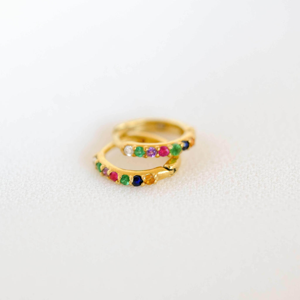 Secret Message Tiny Rainbow Hoop Earrings - COMMON ERA