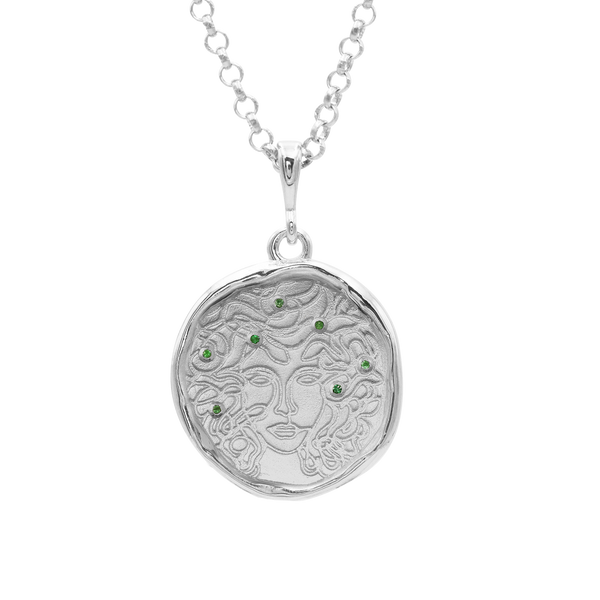 Medusa 7 Emerald Silver Medallion Necklace | Silver - COMMON ERA