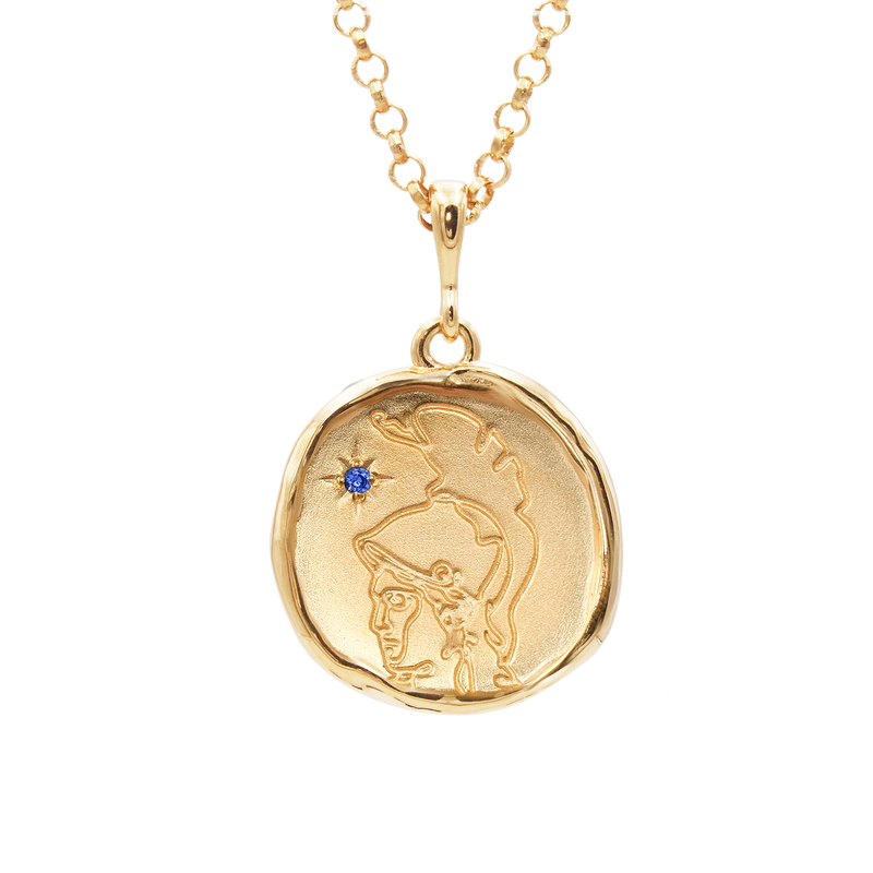 Athena Goddess of Wisdom Necklace with Sapphire - COMMON ERA