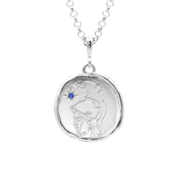 Athena Goddess of Wisdom Necklace with Sapphire | Silver - COMMON ERA