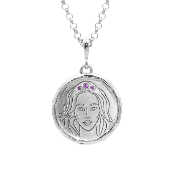 Hecate Goddess of Magic Triple Amethyst Medallion Necklace | Silver - COMMON ERA