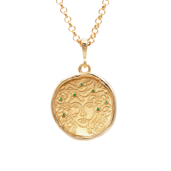 Medusa 7 Emerald Medallion Necklace - COMMON ERA