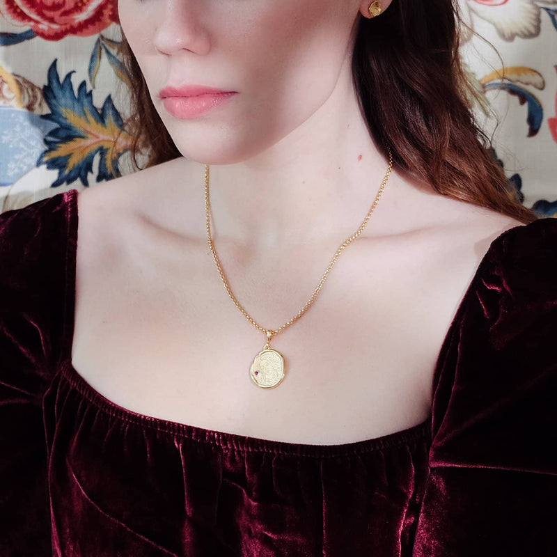 Aphrodite Goddess of Love Necklace with Garnet - COMMON ERA