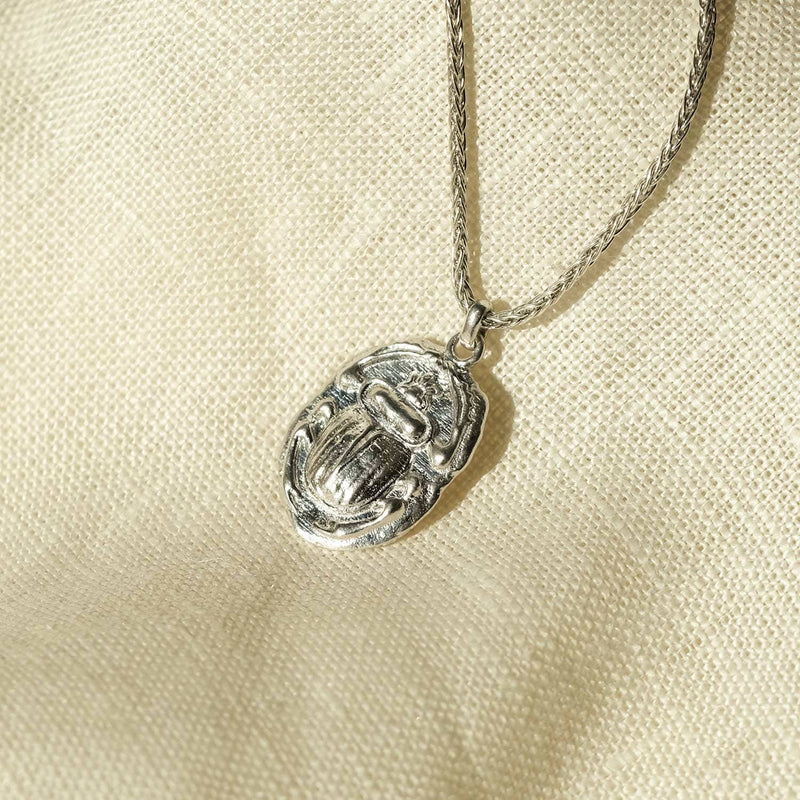 Ancient Scarab Silver Talisman Necklace - COMMON ERA
