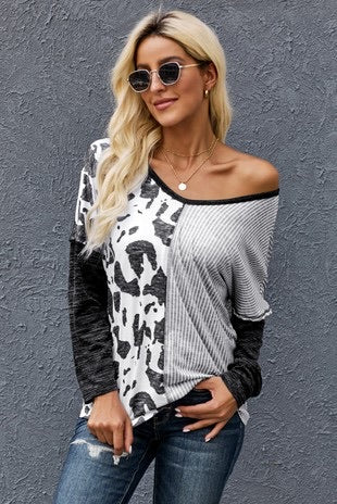 DOUBLE STANDARD COWPRINT AND STRIPED VNECK TOP