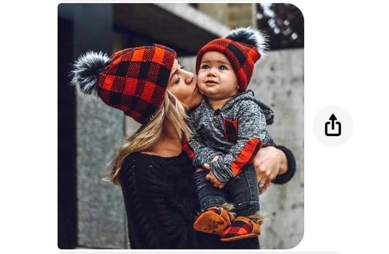 RED PLAID MOMMY AND ME BEANIE SET