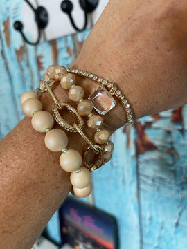 THE SANDY BEAD STACK SET - NUDE