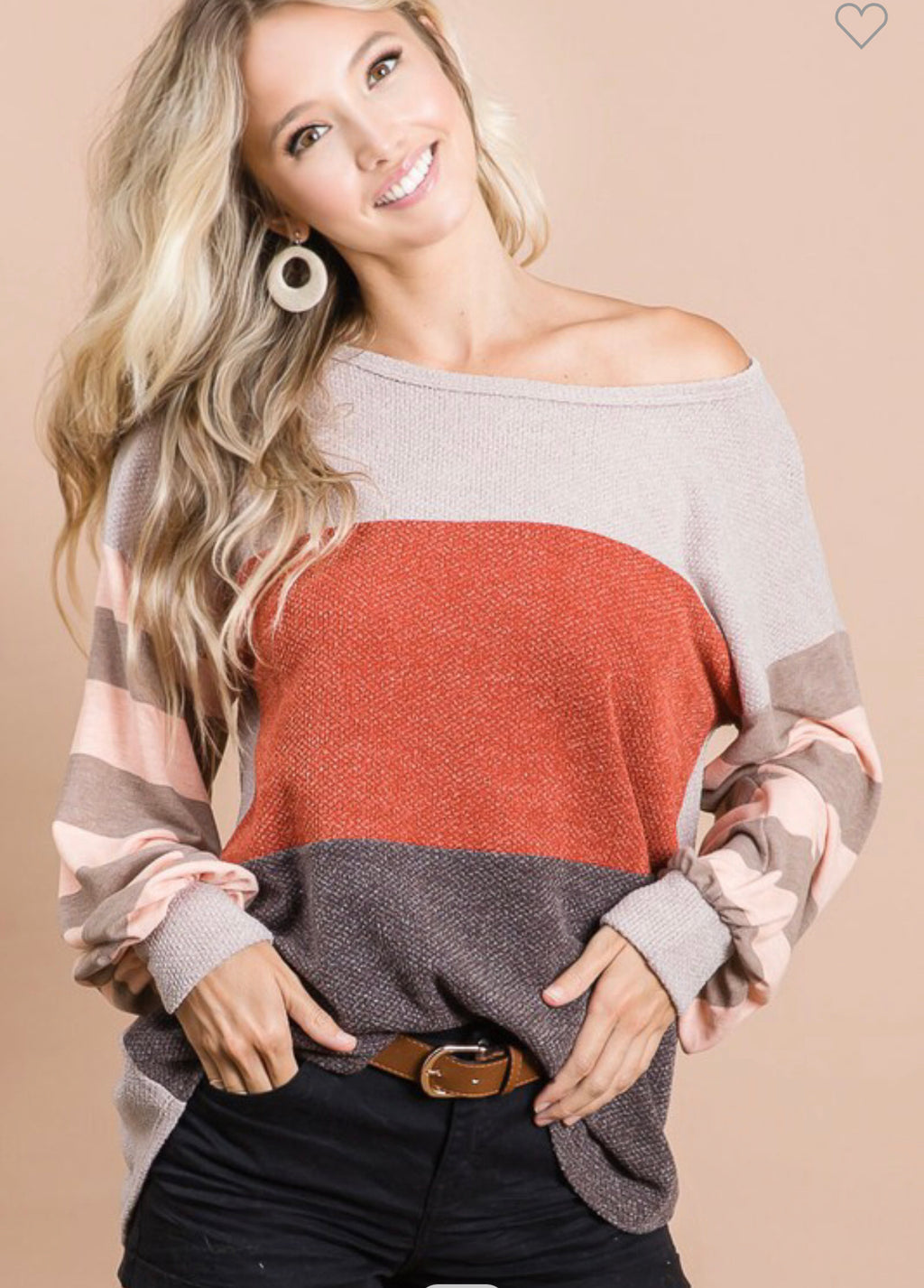 STAY IN YOUR LANE TAUPE & RUST COLORBLOCK TOP