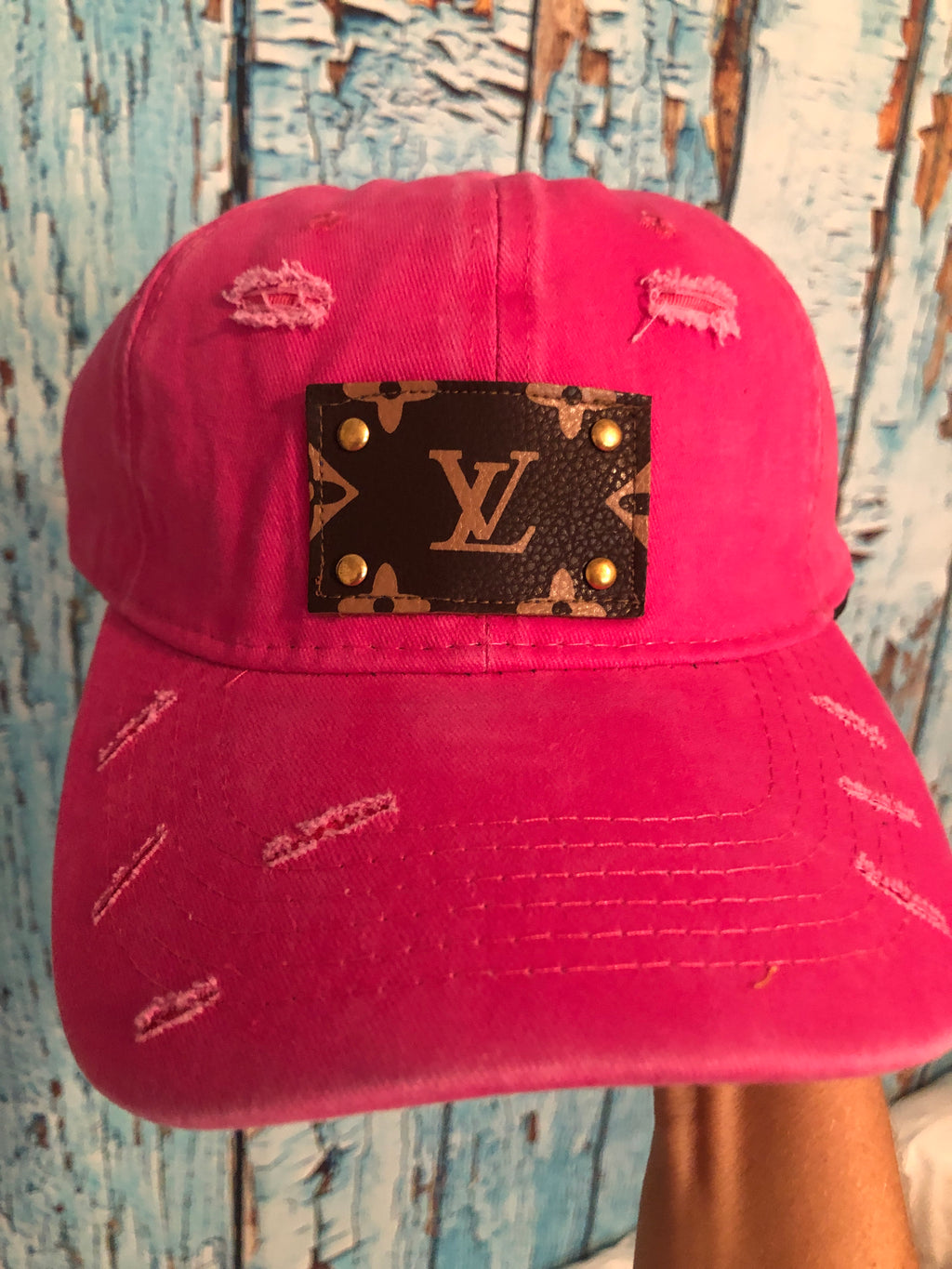 UPCYCLED LV PATCH CAPS - HOT PINK