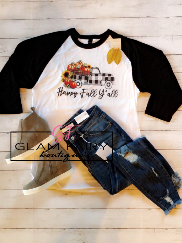 HAPPY FALL YALL RAGLAN TEE