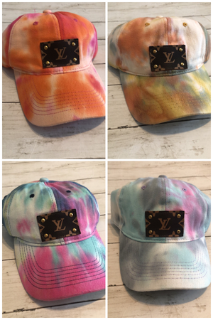 UPCYCLED LV PATCH CAPS - TIE DYE
