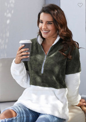 COZY NIGHTS OLIVE PULLOVER