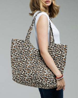 CHEETAH WEEKENDER CANVAS BAG (BROWN)