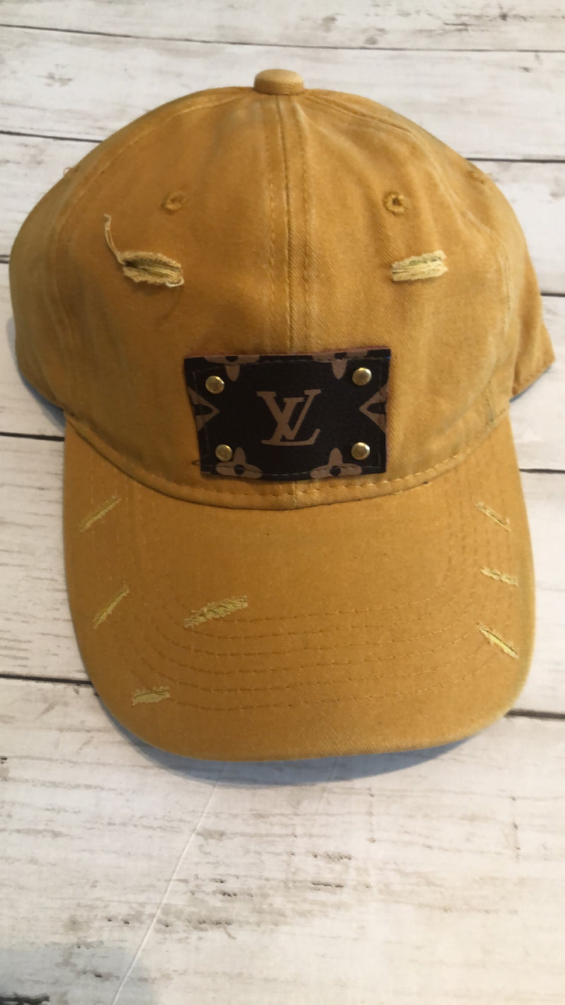 UPCYCLED LV PATCH CAPS - MUSTARD