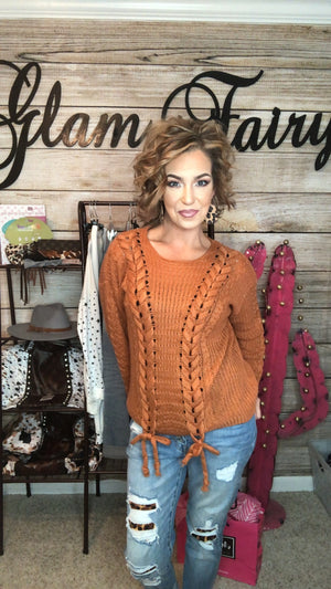 FALLING LEAVES LACED RUST SWEATER