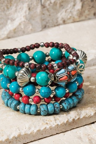 Turquoise Multi Color 6pc Stack Bracelet set