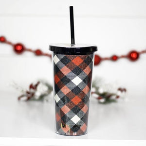 RED AND BLACK PLAID GLITTER TUMBLER WITH STRAW