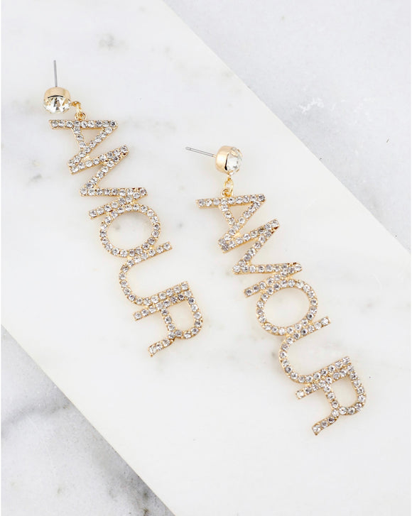 AMOUR LETTER STUDDED EARRINGS