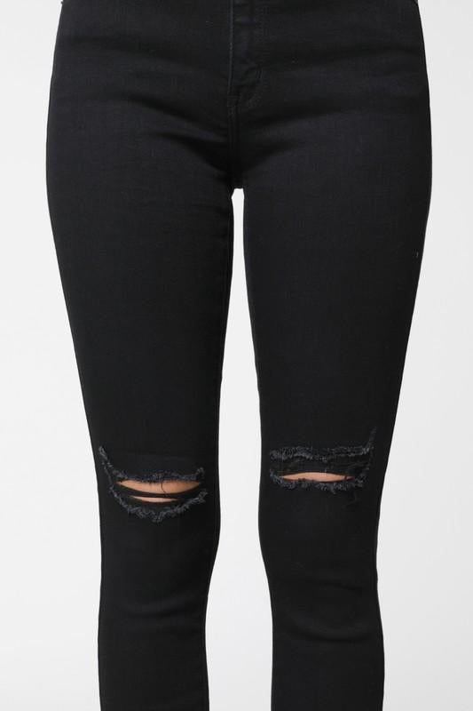 KANCAN BLACK DISTRESSED KNEE HIGH RISE JEANS