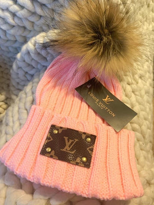 ORIGINAL UPCYCLED LV BEANIE (PINK)