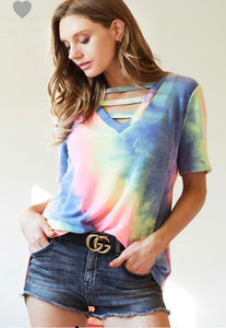 IN THE SUN TIE DYE TOP (CHARCOAL)