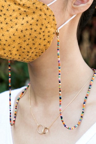MULTI COLOR WOOD BEADED MASK CHAIN