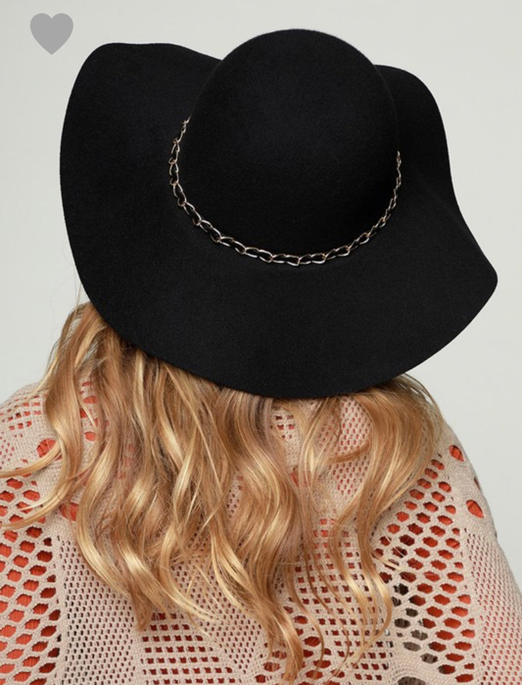 BLACK FLOPPY HAT WITH GOLD BAND DETAIL