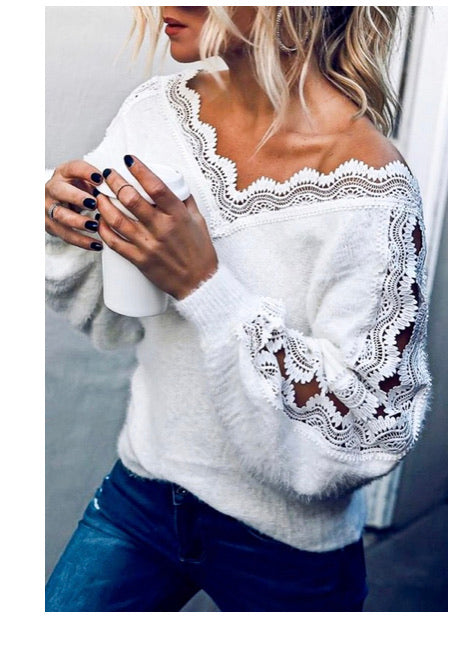 THE HAMPTONS WHITE LACE SWEATER