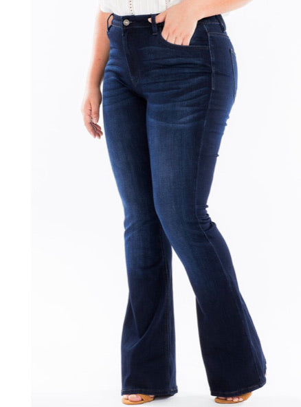 THE ANDREA PLUS SIZE KANCAN DARK WASH FLARES