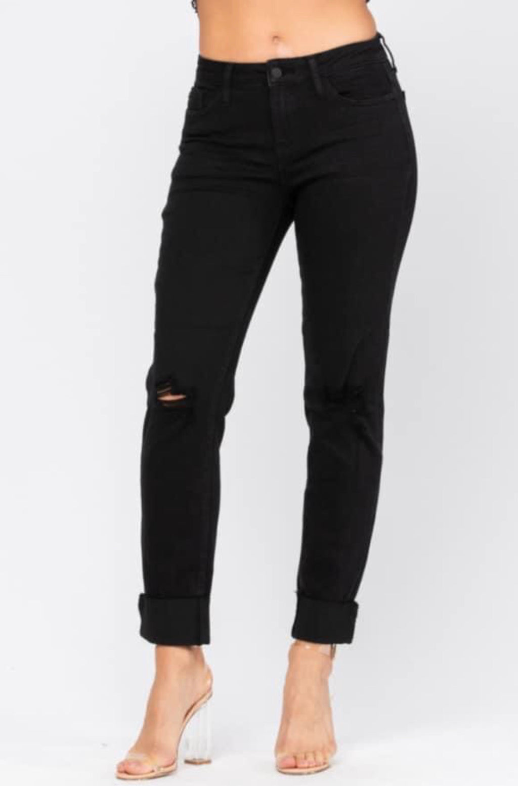 Judy Blue Black Distressed Slim Fit Jeans