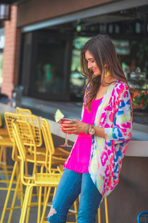 Everly Colorful Leopard Kimono