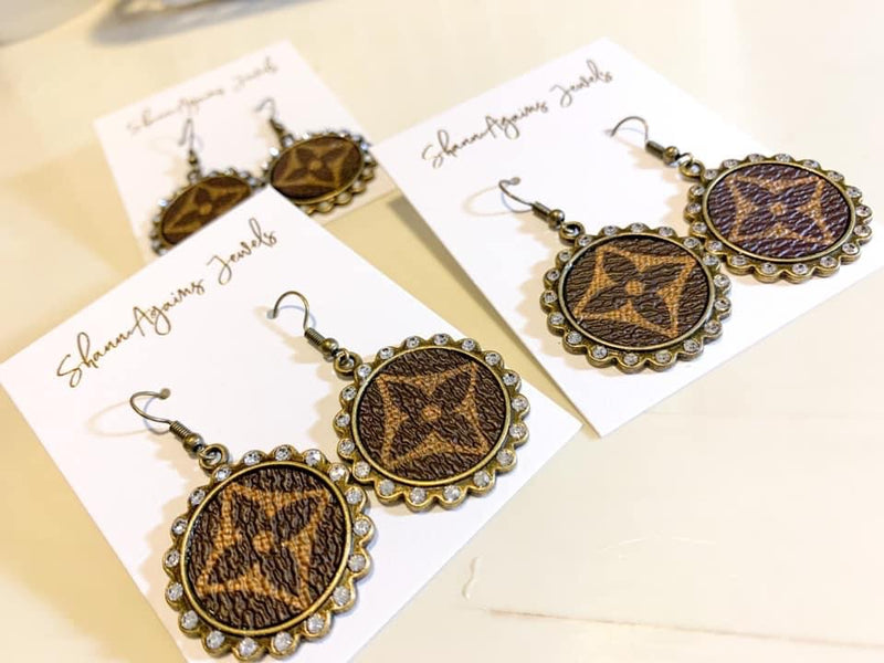 Genuine Upcycled LV charm earrings