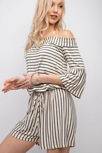 HEARTBREAKER STRIPED ROMPER