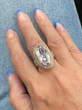 TWO TONE CRYSTAL RING