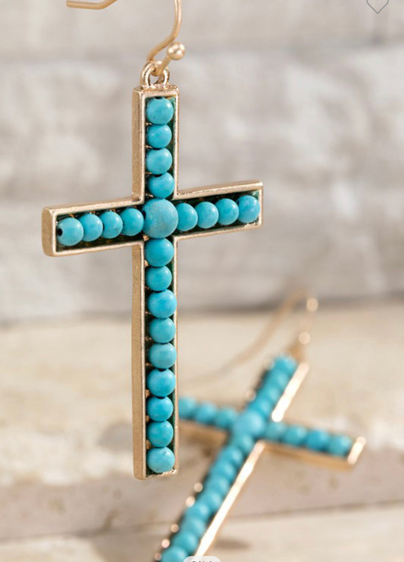 CROSS EARRINGS - TURQUOISE