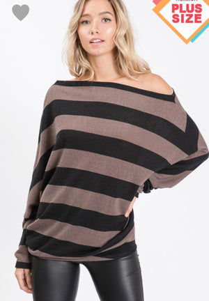 WORK IT GIRL PLUS SIZE STRIPED BOATNECK