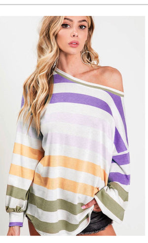BON TEMPS STRIPED BOATNECK TOP