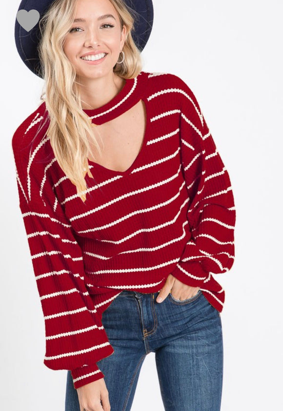 GOING PLACES WINE STRIPED TOP