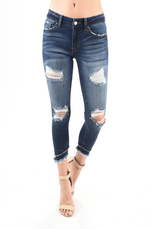 MAKE A SPLASH MID RISE KAN CAN JEANS WITH DOUBLE SLANTED FREYED HEM