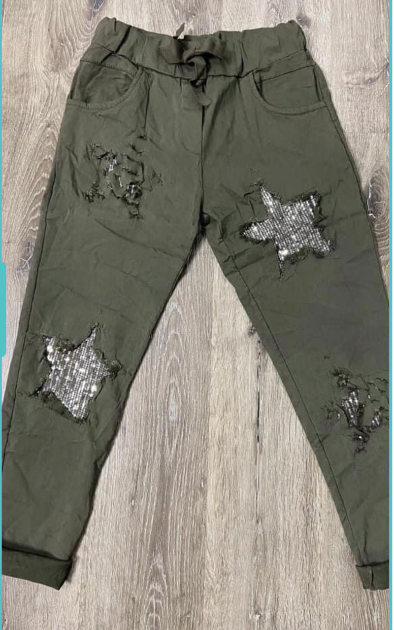 LUXE SEQUIN ARMY GREEN STAR CRINKLE JOGGERS
