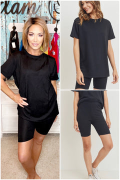 BLACK FRENCH TERRY 2 Pc BIKER SHORT AND TOP SET