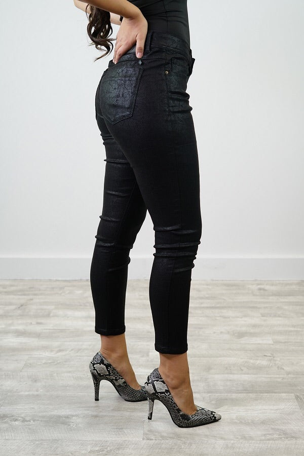 FAUX LEATHER BLACK JEANS (ALL SIZES)