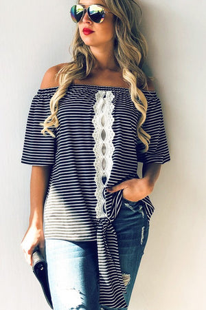 STRIPES N LACE HALTER
